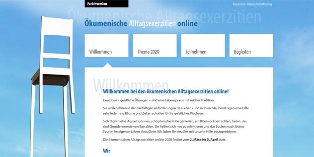 Ökumenische Alltagsexerzitien online Screenshot,© ELKB